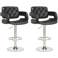 CorLiving Tufted Leatherette Adjustable Barstool with Armrests, Set of 2, Black