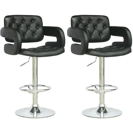 CorLiving Tufted Leatherette Adjustable Barstool with Armrests, Set of 2, (Arms Brick)
