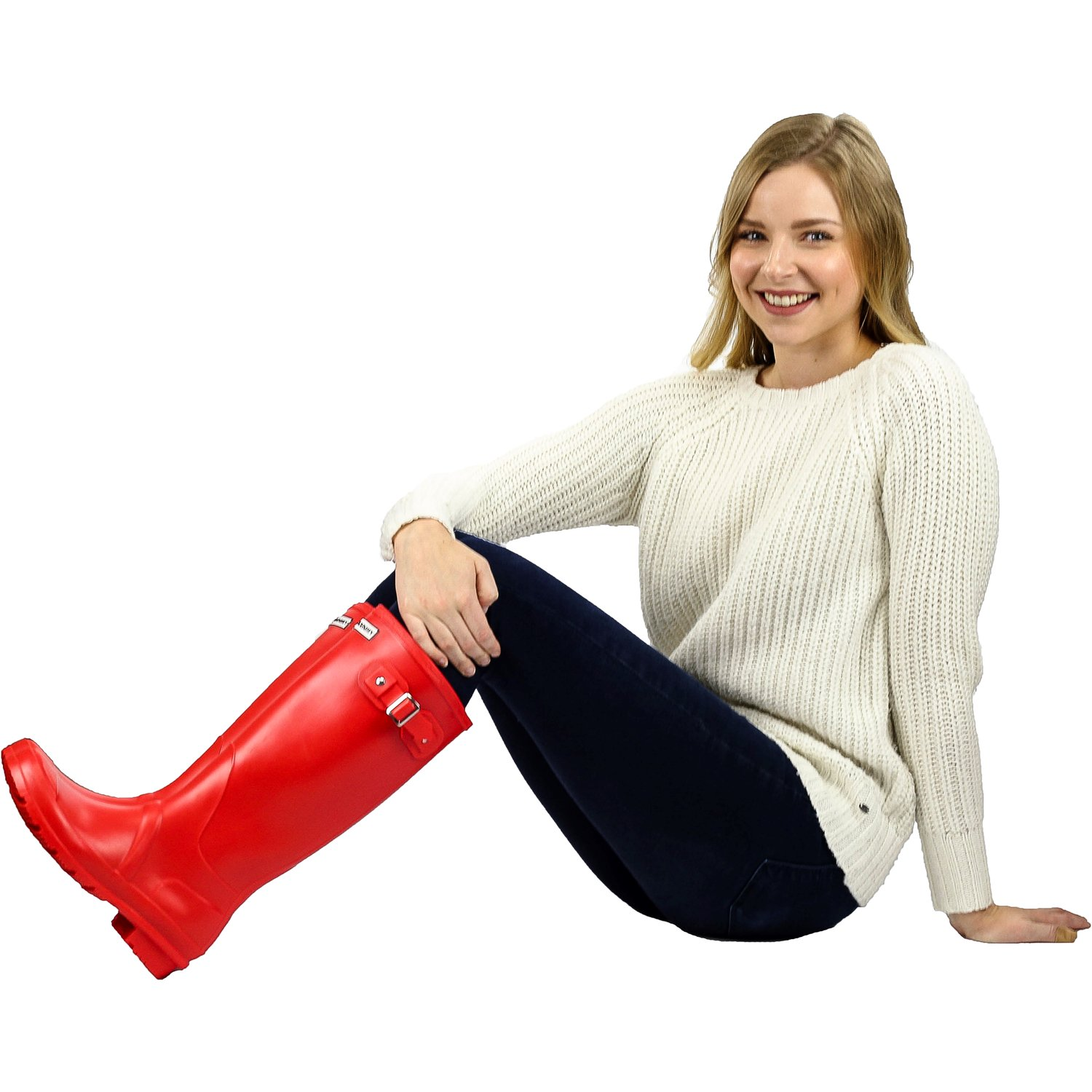 Exotic Identity Women's Original Tall Gloss Red Knee-High Rubber Rain Boot 8M by Exotic Identity