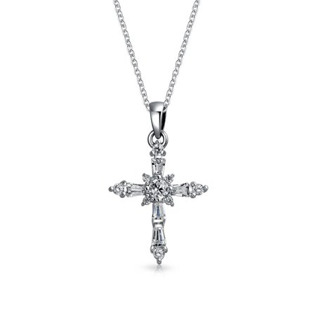 Vintage Style Tiny Cubic Zirconia AAA CZ Baguette Botonee Cross Pendant Necklace For Women For Teen 925 Sterling Silver