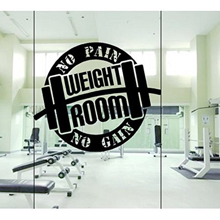 17' Window Cling Decal (Decal ~ No PAIN No GAIN ~ GYM~: Wall or Window Decal 20