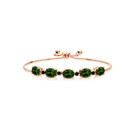 6.26 Ct Green Chrome Diopside Black Diamond 18K Rose Gold Plated Silver Bracelet