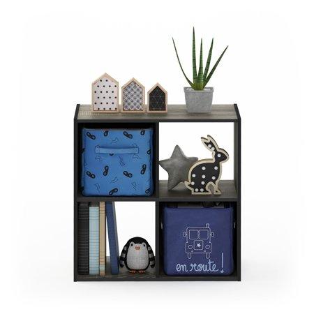 Furinno Pelli Cubic Storage Cabinet, 2x2, French Oak Grey/Black, 18051GYW French Oak Cubes