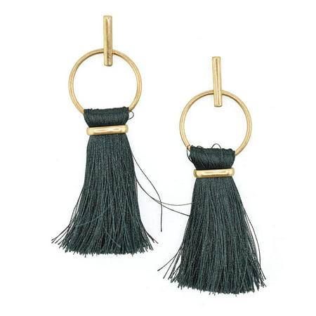 Round Hoop Hanging Tassel Earrings, 3-Inch, Teal