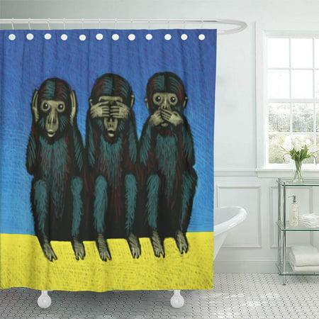 CYNLON Colorful Evil of Monkeys See Hear Speak Ape Apes Parts Bathroom Decor Bath Shower Curtain 60x72