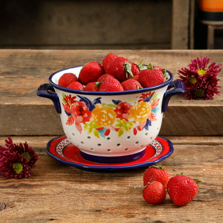 The Pioneer Woman Fiona Floral Colander with Drip Plate