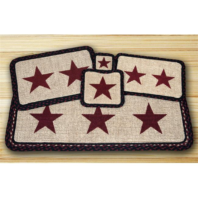 Earth Rugs 86-344BS Wicker Weave Placemat, Burgundy Star