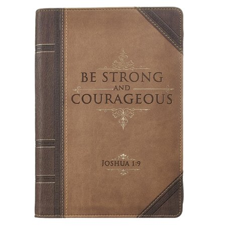 Antique Leather Journals - Journal Lux-Leather with Zipper Be Strong Joshua 1:9 (Hardcover)