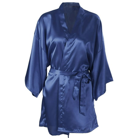 (Women's Silk Satin Short Bridal Kimono Robe Sleepwear Bathrobe, Dark Blue)