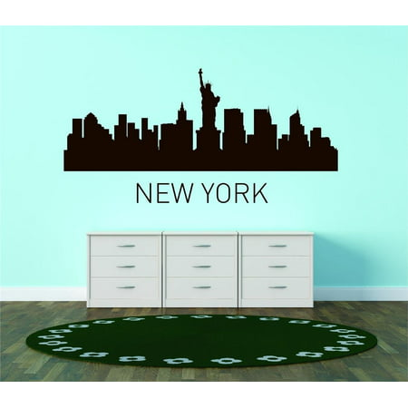 Do It Yourself Wall Decal Sticker New York United States Major City Geographical Map Landmark 35x60 ()