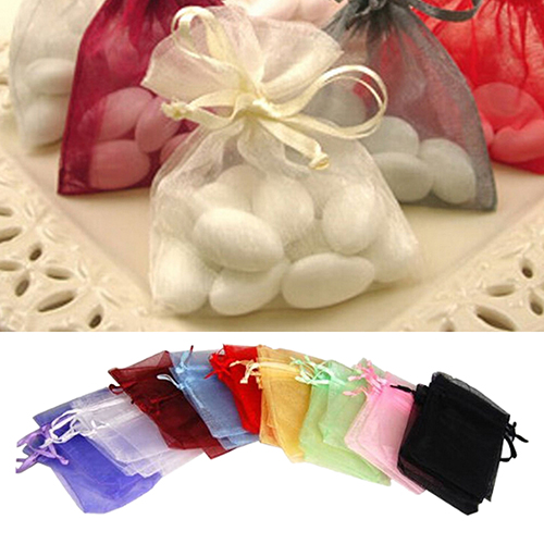 Micelec 50 Pcs Organza Jewelry Gifts Drawable Box Wedding Gift Candy Mini Pouch Bag
