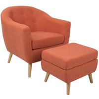 Rockwell Mid-Century Modern Accent Chair and Ottoman in Orange by LumiSource