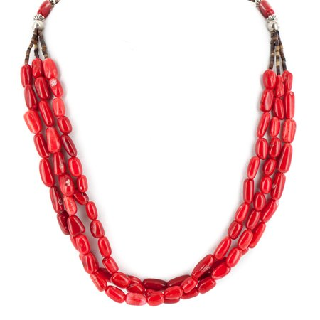 - Large $280 Retail Tag 3 Strand Authentic Made by Charlene Little Navajo .925 Sterling Silver Coral Native American Necklace