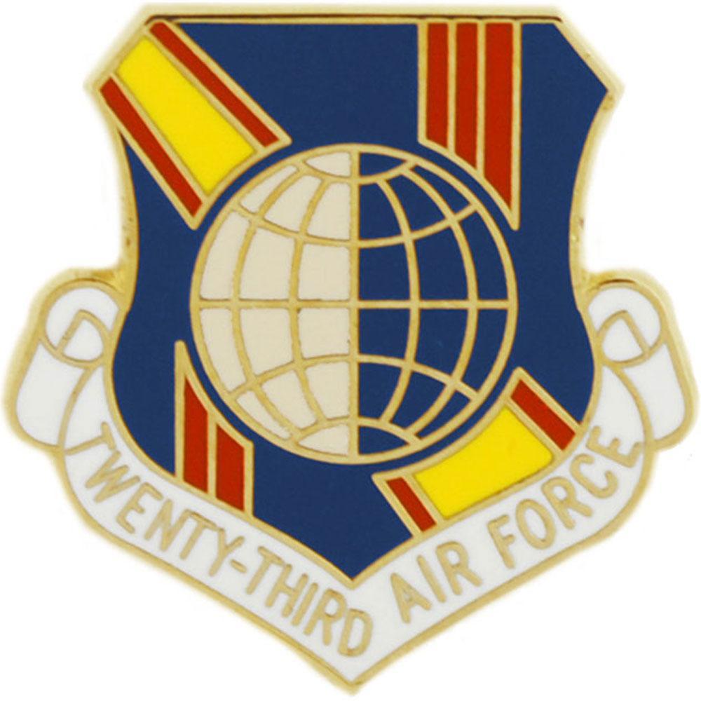 "U.S. Air Force 23rd Air Force Shield Pin 1"""