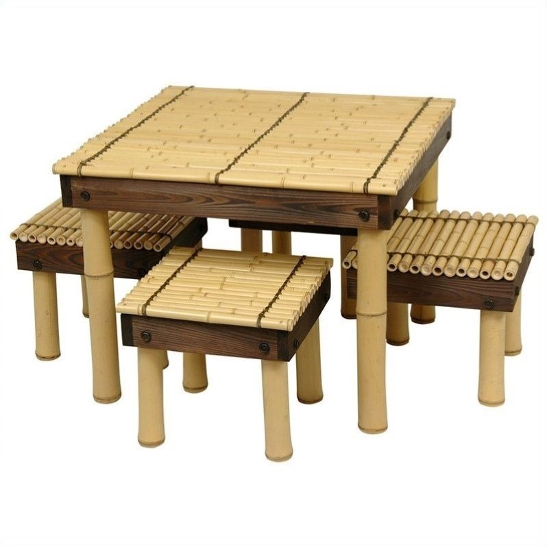 Oriental Furniture Zen Bamboo 5 Piece Coffee Table Patio Chat Set by Oriental Furniture
