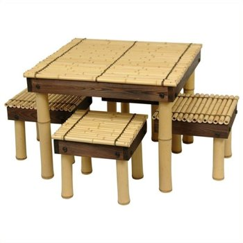 Oriental Furniture Zen Bamboo Coffee Table Set