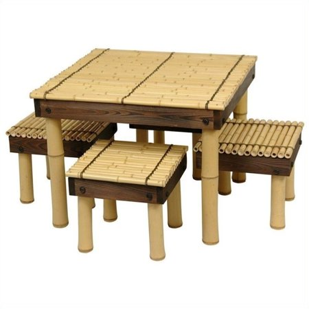 Oriental Furniture Zen Bamboo 5 Piece Coffee Table Patio Chat Set ()