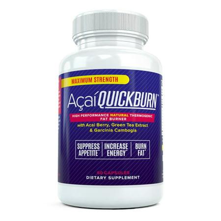 Acai Quick Burn - High Performance Natural Fat Burner with Acai Berry, Garcinia Cambogia and Green Tea, 60 capsules