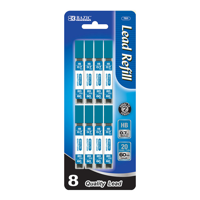 (Price/Case of 24)Bazic Products 781-24 20 Ct. 0.7Mm Mechanical Pencil Leads (8/Pack)
