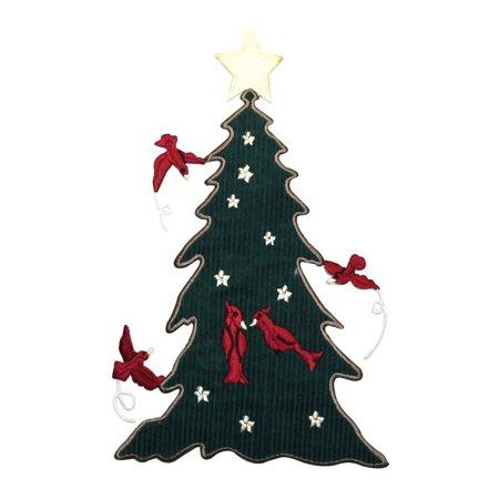 Felt Bird (ID 5125 Big Christmas Tree Patch Cardinal Birds Felt Embroidered IronOn Applique )