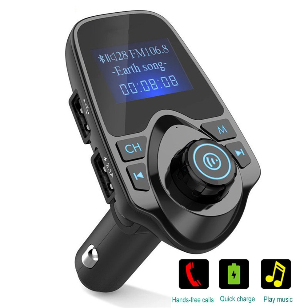 Bluetooth Car MP3 Player FM Transmitter with Dual USB 5V 2.1A USB Charger Bluetooth Handsfree Car Kit Wireless Radio Audio Adapter 1.44 Inch LCD Display,TF Card Slot, USB Flash Drive Port For Phone