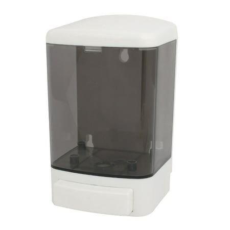Uxcell ABS+PS Plastic 1000ML Wall-Mount Bathroom Liquid Soap Dispenser White Gray