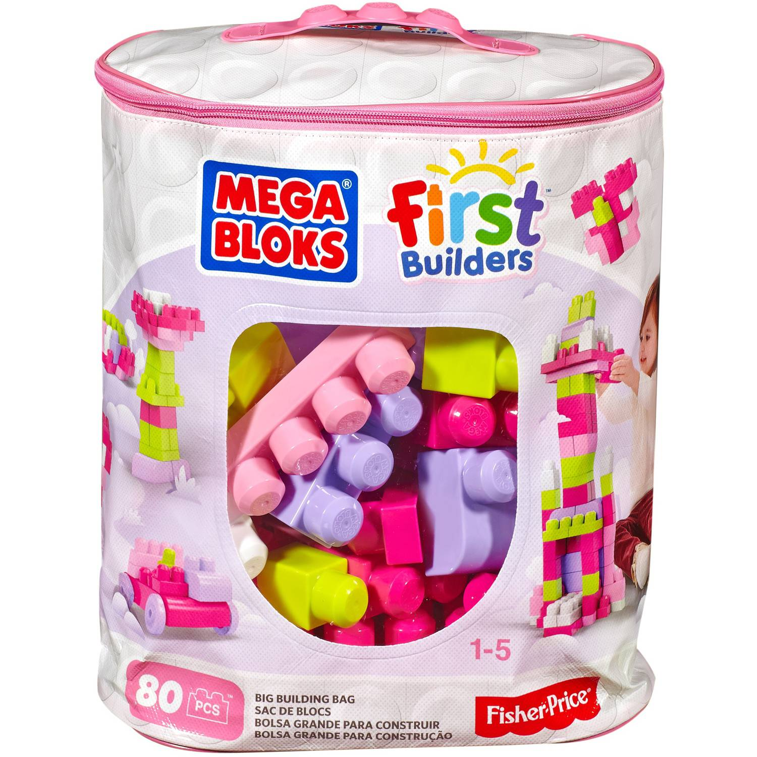 Mega Bloks Big Building Bag, Pink, 80 Pieces
