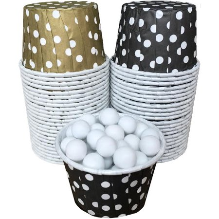 Black and Gold Polka Dot Candy/Nut Cups  48 Pack