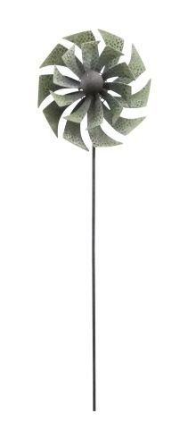 72 In Green Metal Windmill Garden Stake by Benzara