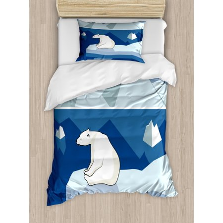 Polar Bear Duvet Cover Set Twin Size, Lonely Bear on Iceberg Watching the Night Polar Landscape Panorama, Decorative 2 Piece Bedding Set with 1 Pillow Sham, Baby Blue Navy Cream, by Ambesonne ()