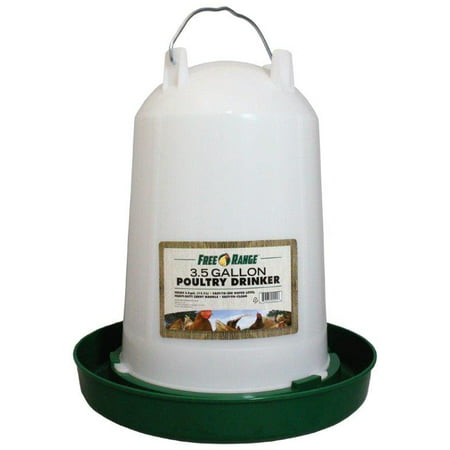 FREE RANGE PLASTIC POULTRY WATERER GREEN/WHITE 3.5 GALLON ()