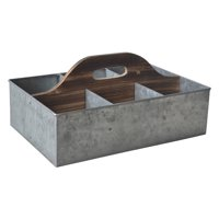 Cheungs Galvanized Storage Caddy with Wood Center Handle