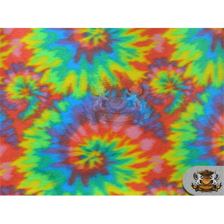 "Fleece Printed Fabric * SPIRAL TIE DYE * / 58"" Wide / Sold by the yard / N-552"