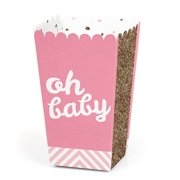 Hello Little One - Pink and Gold - Girl Baby Shower Favor Popcorn Treat Boxes - Set of 12