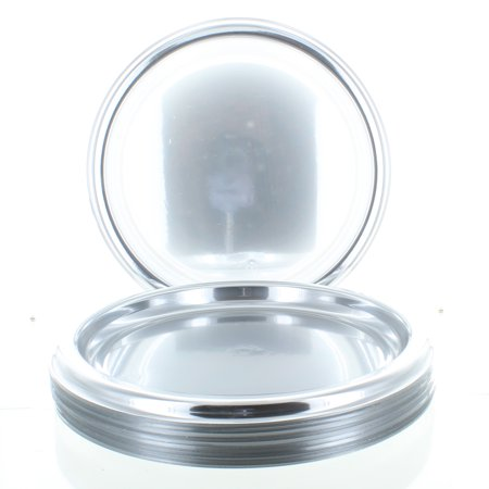 Plastic Serving Platters - Lot of 12 Round Silver Serving Trays 12