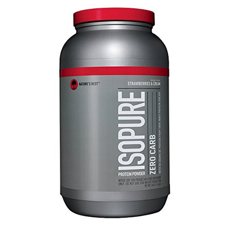 Isopure Zero Carb Protein Powder, Strawberries & Cream, 50g Protein, 3