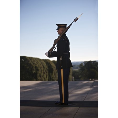 Honor Guard At The Tomb Of The Unknown Soldier In The Arlington National Cemetery Arlington Virginia Usa Poster Print
