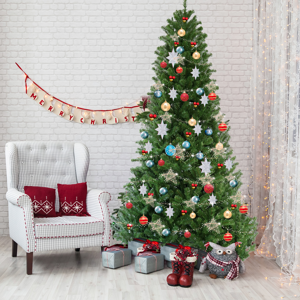 Gymax 7.5' Pre-Lit LED Light Christmas Tree Artificial PVC with Stand Holiday Decor - image 7 of 7