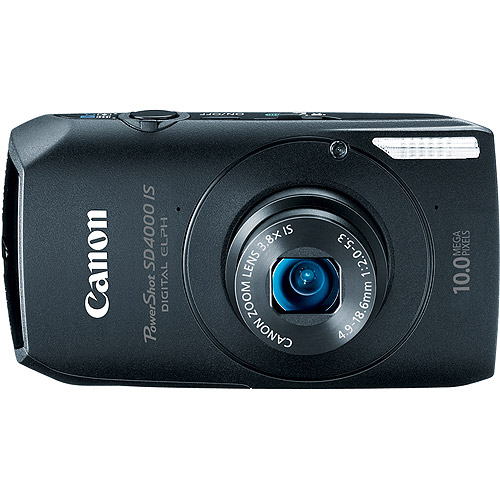 "Canon PowerShot SD4000-IS Black 10MP Digital ELPH Camera, 720P HD Video, 3.8x Optical Zoom, 3"" Wide LCD, CMOS Sensor, HDMI Output"