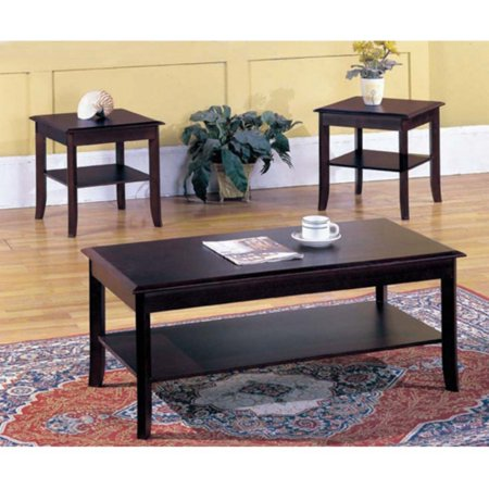 K & B Furniture T87 3 Piece Cocktail and End Table Set Merlot Finish 3 Piece Set Footboard