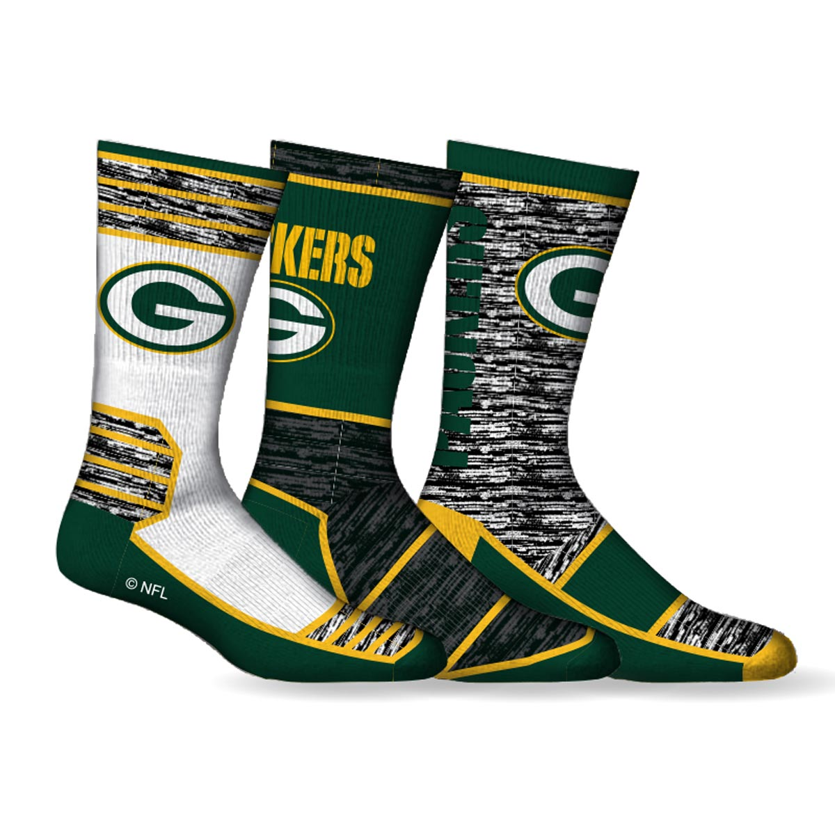 Green Bay Packers NFL Men's 3-Pack Crew Sport Socks
