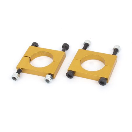 - 18mm Dia Multicopter Airplane Metal Tube Clip Fixture Clamp Holder Gold Tone x 2