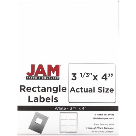 JAM Paper Shipping Address Labels, Large, 3 1/3 x 4, White,