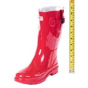 Women Mid-Calf 11'' Red Rubber Rain Boots