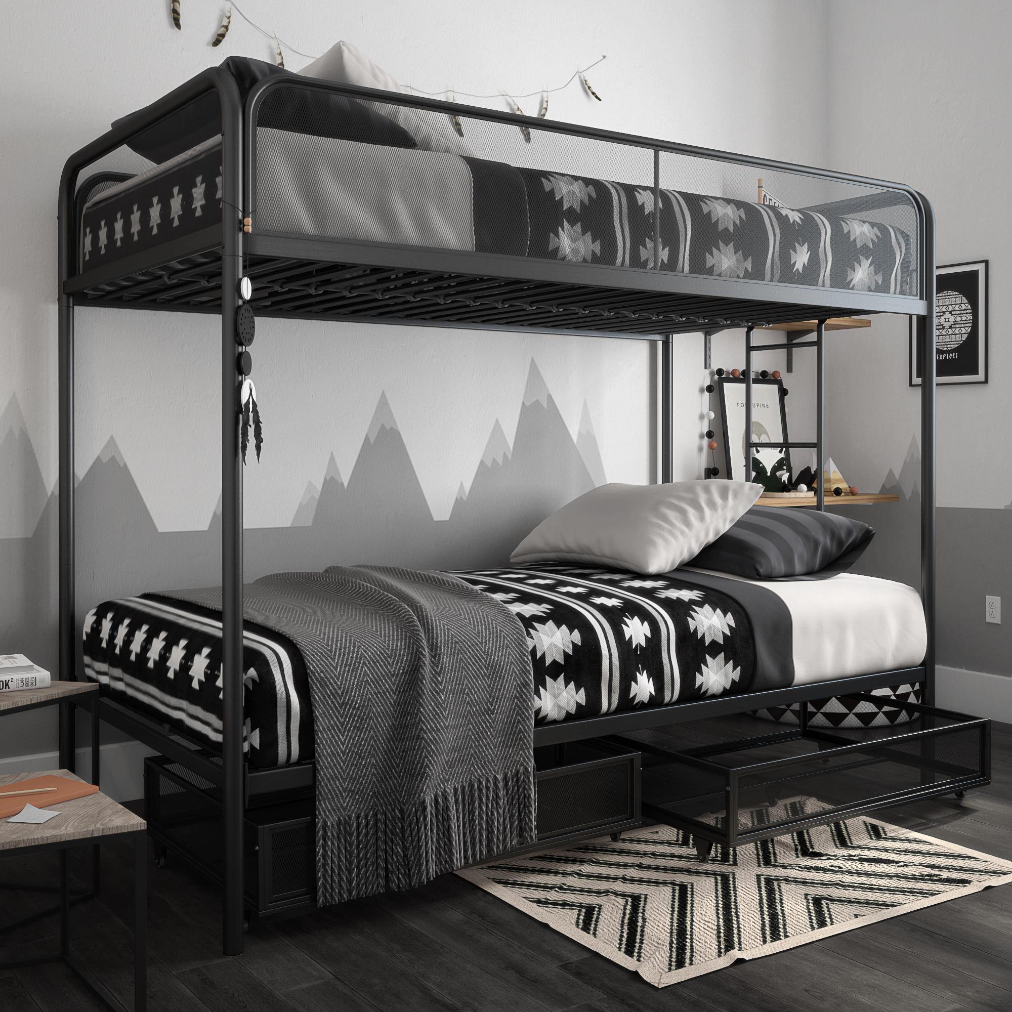 Picture of: Dhp Jaxon Twin Twin Bunk Bed With Storage Black Metal Walmart Com Walmart Com