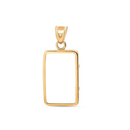 14K Gold Prong Plain Front Bezel  1 Gram Cs Gold Bar