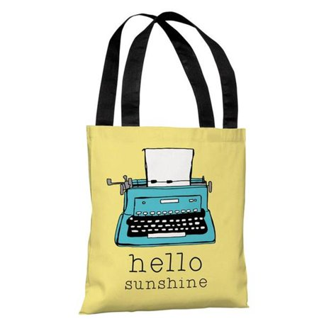 One Bella Casa 74260TT18P 18 in. Hello Sunshine Typewriter Polyester Tote Bag by Pen & Paint, Yellow - image 1 de 1