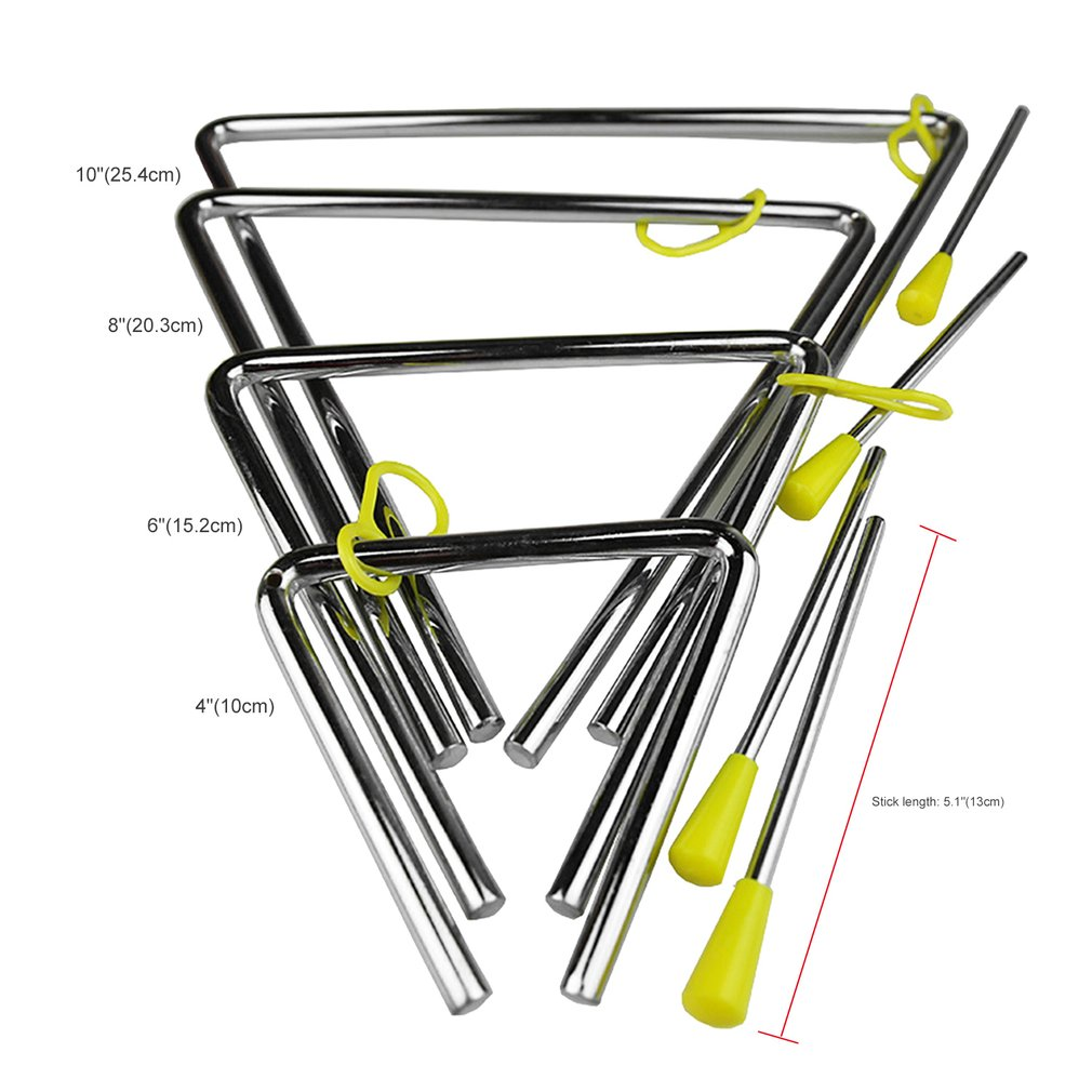 "Professional 4""/6""/8""/10"" Rhythm Steel Triangle Beater Good Sound Musical instruments with Stick Kids Child for Gift"