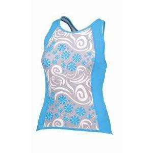SheBeest Kona Tri Top, White/Blue, X-Small (Kona Tri Suit)