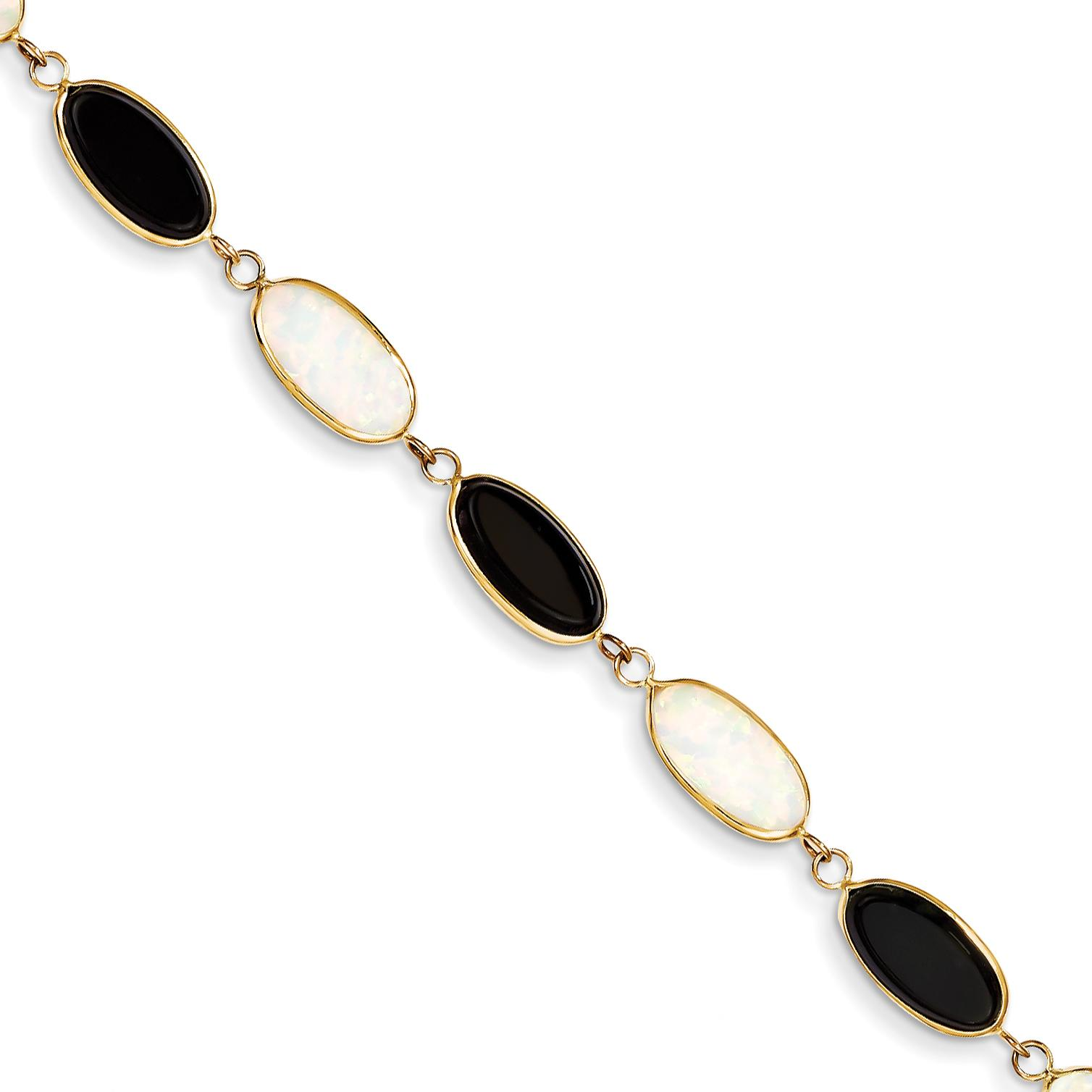 "14K Gold Onyx & Created Opal Bracelet Jewelry 8.5"" by"